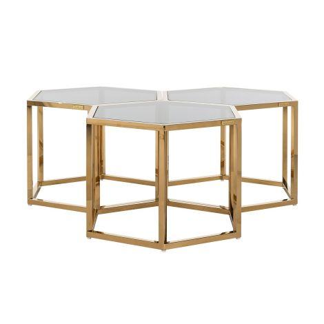 Lot de 3 tables basses Penta - or