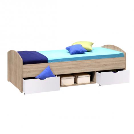 Lit Nero 90x200 avec 2 tiroirs - chêne sonoma/blanc
