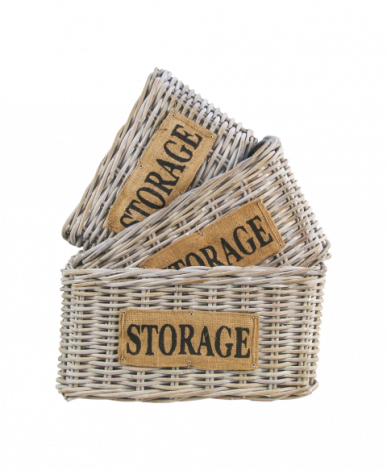 Mandenset Storage - white wash - koboo - set van 3