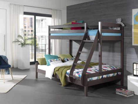 Stapelbed Triple 3-persoons hout - taupe