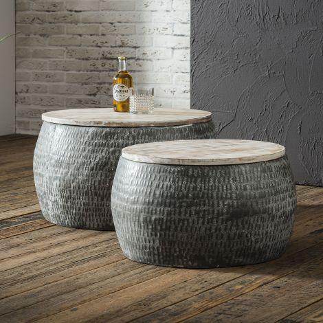 Salontafelset bestaande uit 2 ronde stalen tafels van Ø50cm en Ø60cm met gepatineerd massief mango blad. Tafels zijn samen verpakt - Grijs