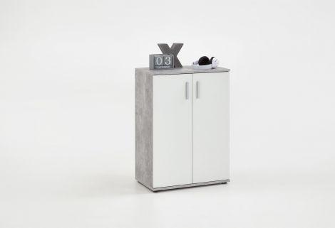 Commode Albi 2 deuren - beton/wit