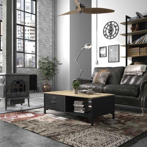 Salontafel Manno 60x110 industrieel - zwart
