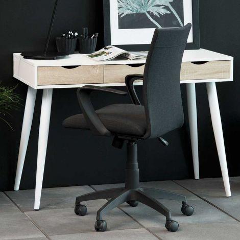 Sidetable/bureau Jupiter 110 cm 3 lades - wit/eik