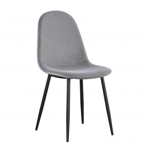 Set van 4 fluwelen stoelen Valeska - grijs