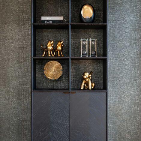 Boekenkast Bony 100cm 2 deuren - zwart/geborsteld goud