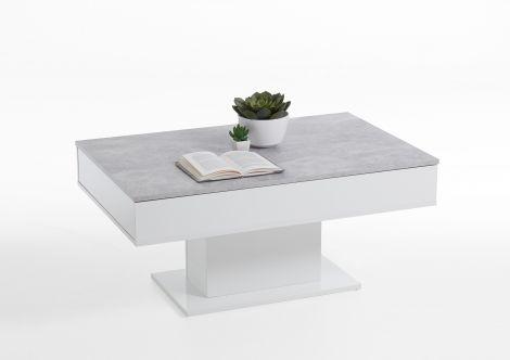 Salontafel Lola 1 lade - beton/hoogglans wit