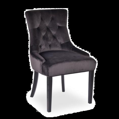 Set van 2 stoelen Christa velours - grijs/donkere poten