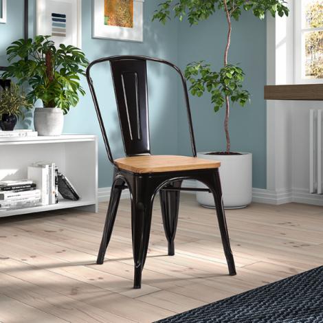 Set van 4 stoelen Victory - zwart/lichtbruin