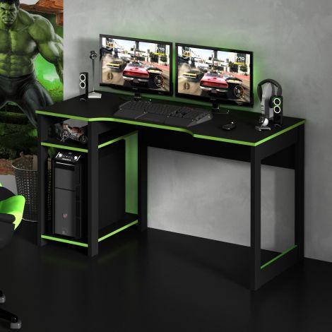 Gaming bureau Vanos 136cm - zwart/groen