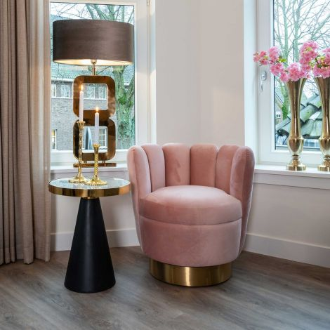 Fauteuil May velours - roze/goud