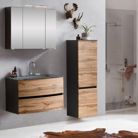 Ensemble salle de bains Kornel 4 à 3 pièces avec vasque grise - gris graphite/chêne