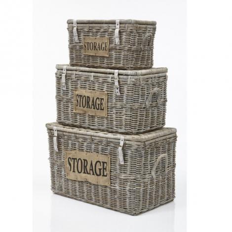 Set van 3 opbergmanden Storage -  koboo/white wash