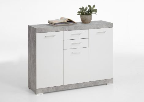 Commode Cristal 3 deuren en 2 laden 120x90x35 - beton/hoogglans wit
