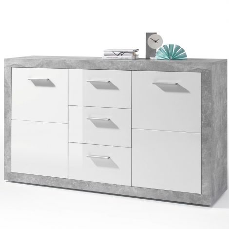 Dressoir Stanno 147 cm met 2 deuren & 3 lades - beton/wit