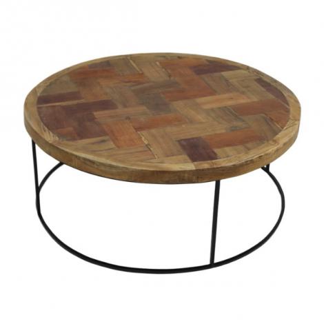 Table basse Maher ø80cm - noir/teck