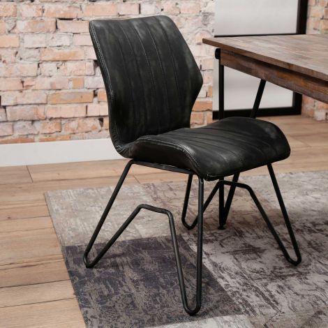 Chaise vintage lavé PU pietement W - Lot de 2 - Anthracite