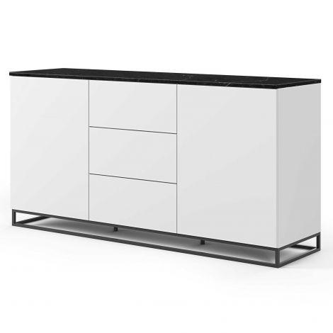 Dressoir Join 180cm met metalen onderstel, 2 deuren en 3 laden - mat wit/zwart marmer