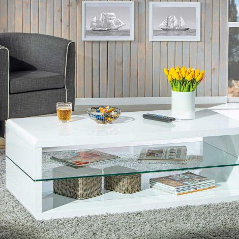 Salontafel Xono 120x60 met glazen legplank - hoogglans wit