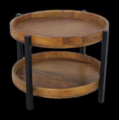 Table basse Hudson 56x56 cm - bois de manguier / fer