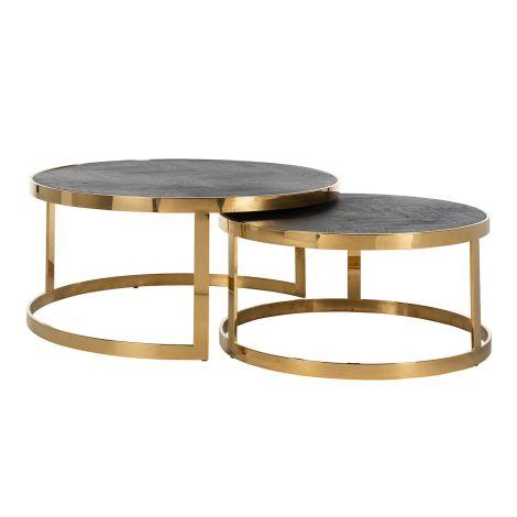 Set van 2 salontafels Bony - zwart/glimmend goud