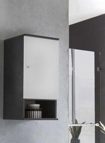 Meuble suspendu Benja 1 porte - blanc/gris graphite
