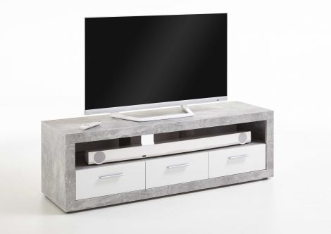 Tv-meubel Turbo 152cm met 3 laden - beton/hoogglans wit