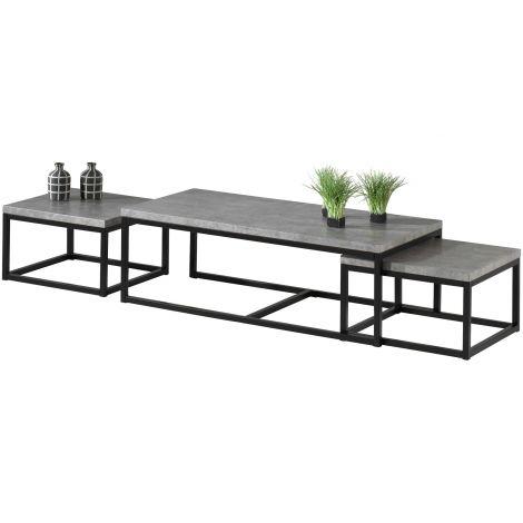 Set van 3 bijzettafels Jenna industrieel - beton