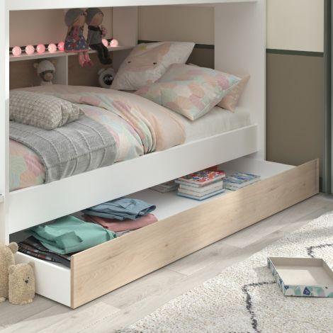 Tiroir de lit Lester - chêne/blanc