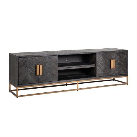 Tv-meubel Bony 200cm 4 deuren - zwart/geborsteld goud