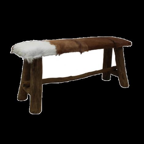Banc décoratif Bangku 100cm rustique - peau de chèvre/teck