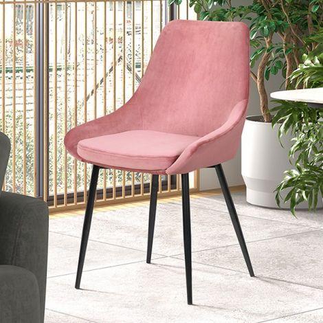 Set van 2 stoelen Mirano fluweel/metaal - roze