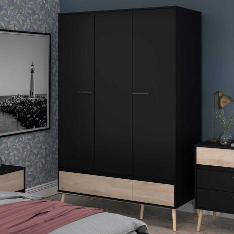 Armoire à vêtements Hardy 135cm avec 3 portes - noir/chêne