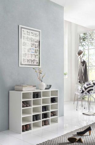 Schoenenkast / Rek Levi laag model met 20 vakken - wit
