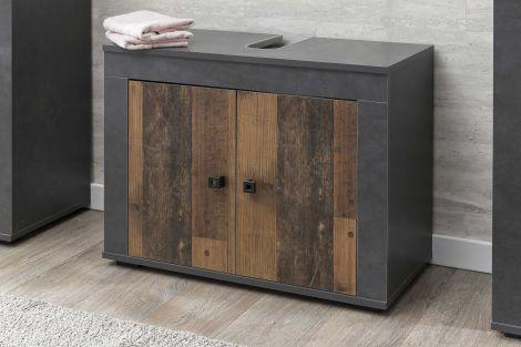 Meuble sous lavabo Rutger 2 portes - bois/graphite