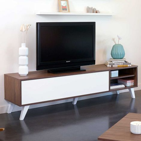 Meuble TV Kim 165cm - noyer/blanc