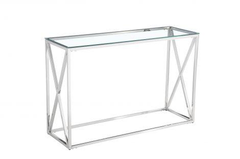 Sidetable Quebec 120cm - zilver/glas