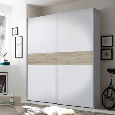Kledingkast Wouter 170cm met 2 deuren - wit/eik
