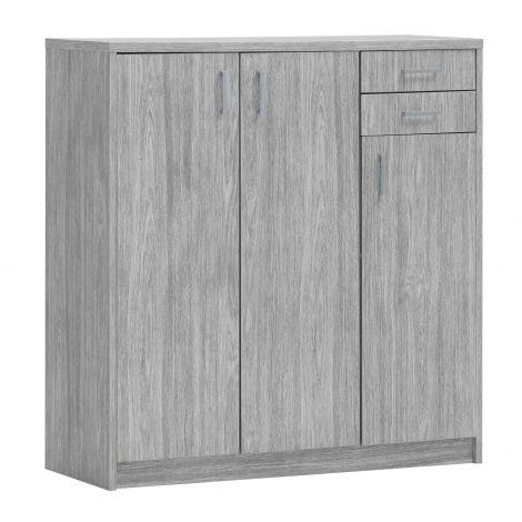 Commode Spacio 110cm 3 deuren/2 laden - grijze eik