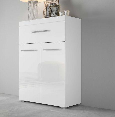 Dressoir Tristan 2 deuren & 1 lade - hoogglans wit
