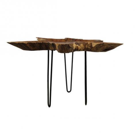 Salontafel Ribbon ø±70cm - teak wortelhout/zwart
