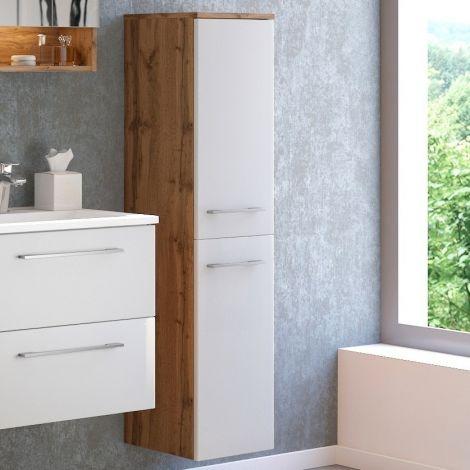 Colonne Sefa 30cm 2 portes - chêne/blanc
