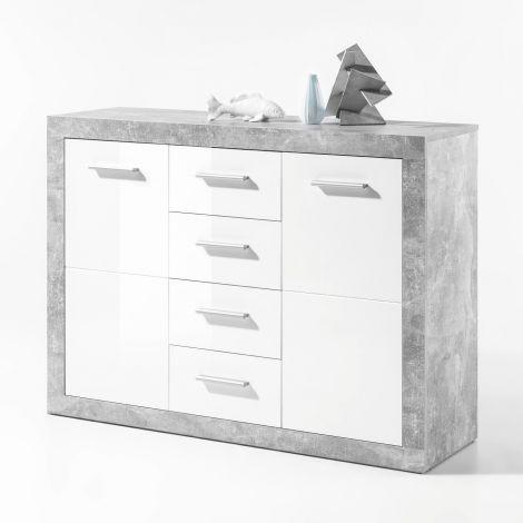 Commode Stanno 117 cm avec 2 portes & 4 tiroirs - béton/blanc