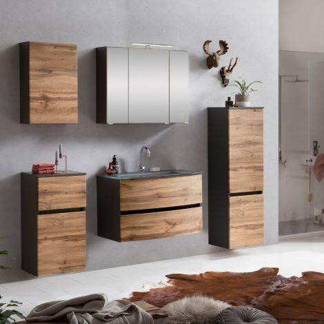 Ensemble de salle de bains Kornel 12 à 5 pièces avec vasque grise - gris graphite/chêne