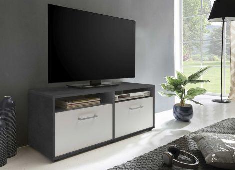 Tv-meubel Sami 2 deuren 95cm - wit/grafietgrijs
