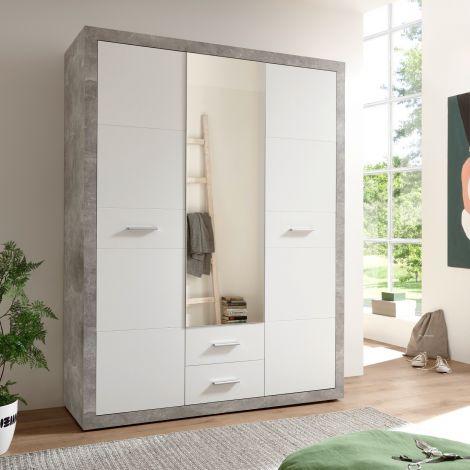 Armoire à vêtements Storck 151cm 3 portes & 2 tiroirs - béton/blanc