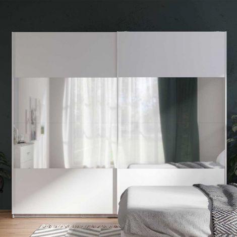 Kledingkast Soma 250cm met 2 schuifdeuren & spiegel - wit/beton