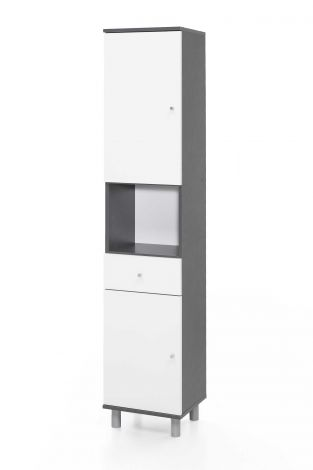 Colonne de salle de bains Benja 2 portes & 1 tiroir - blanc/gris graphite