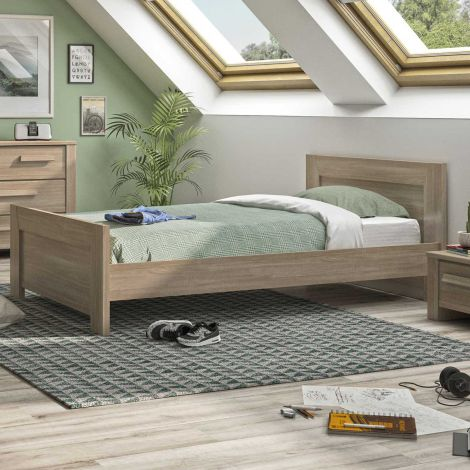 Lit simple Haron 90x190 - chêne gris