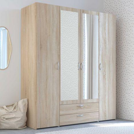 Armoire de rangement Salvador miroirs, 4 portes & 2 tiroirs - chêne sonoma